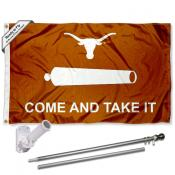 Texas UT Longhorns Come Take It Flag and Bracket Flagpole Set