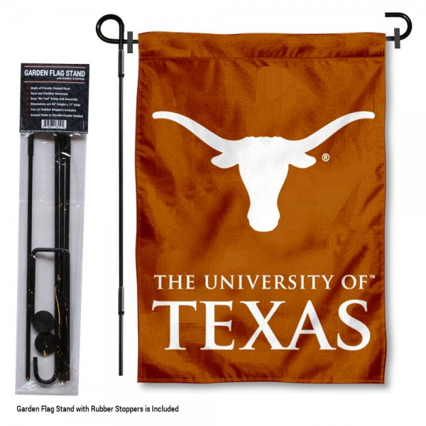 Texas UT Longhorns Garden Flag and Holder