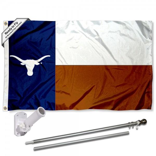 Texas UT Longhorns State Logo Flag and Bracket Flagpole Set