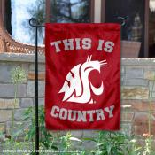 This is Washington State WSU Country Garden Flag