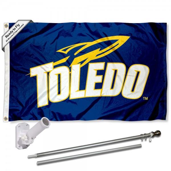 Toledo Rockets Flag and Bracket Flagpole Set