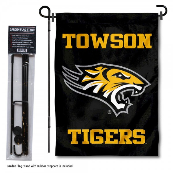 Towson Tigers Garden Flag and Holder