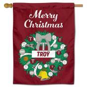 Troy Trojans Christmas Holiday House Flag