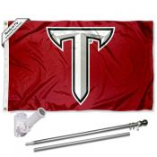 Troy Trojans Power T Logo Flag and Bracket Flagpole Set