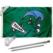 Tulane Green Wave Angry Wave Flag and Bracket Flagpole Set