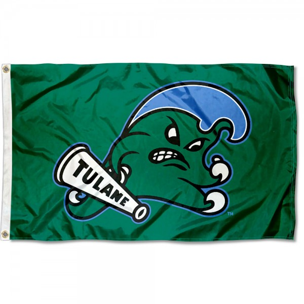 Tulane Green Wave Angry Wave Logo Flag