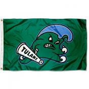 Tulane Green Wave Angry Wave Logo Flag
