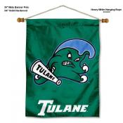 Tulane Green Wave Banner with Pole