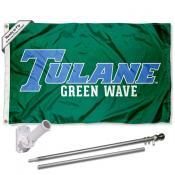 Tulane Green Wave Flag and Bracket Mount Flagpole Set