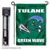 Tulane Green Wave Garden Flag and Holder