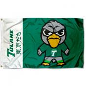Tulane Green Wave Tokyodachi Cartoon Mascot Flag
