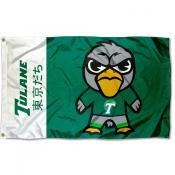 Tulane Green Wave Tokyodachi Cartoon Mascot Flag