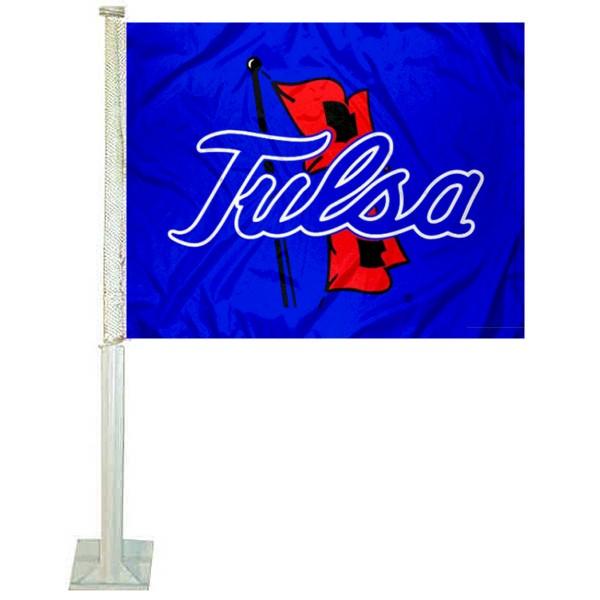Tulsa Hurricanes Blue Car Flag