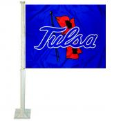 Tulsa Hurricanes Blue Car Flag