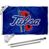 Tulsa Hurricanes Flag and Bracket Flagpole Set
