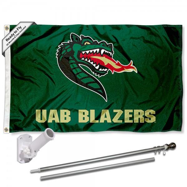 UAB Blazers Flag and Bracket Mount Flagpole Set