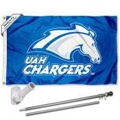 UAH Chargers Flag and Bracket Flagpole Kit