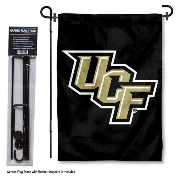 UCF Knights Black Garden Flag and Holder