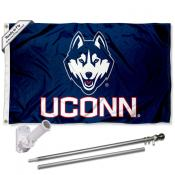 UCONN Flag and Bracket Flagpole Set