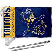 UCSD Tritons Logo Flag and Bracket Flagpole Kit