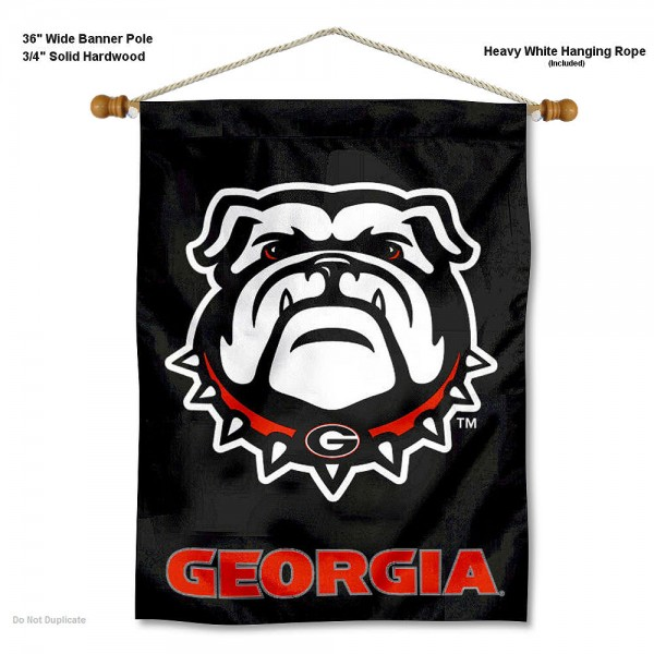 UGA Bulldogs Blackout Banner with Pole