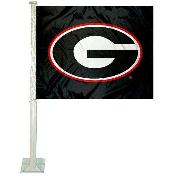 UGA Bulldogs Blackout Car Flag