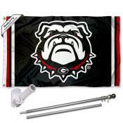 UGA Bulldogs Flag and Bracket Flagpole Kit
