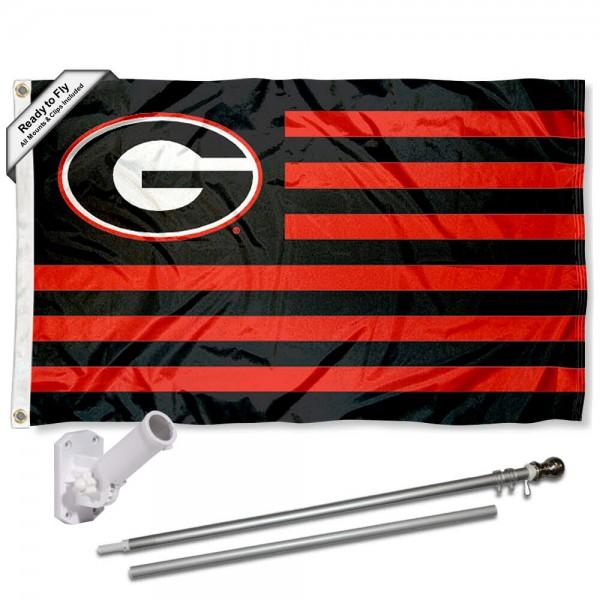 UGA Bulldogs Flag and Bracket Mount Flagpole Set