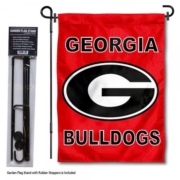 UGA Bulldogs G Logo Garden Flag and Holder