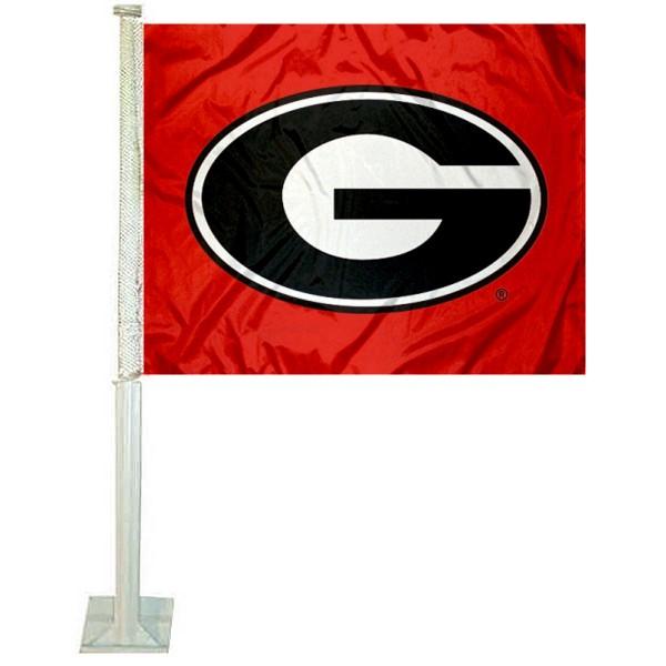 UGA Bulldogs Red Car Flag