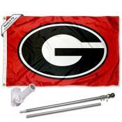 UGA Bulldogs Red Flag and Bracket Flagpole Kit