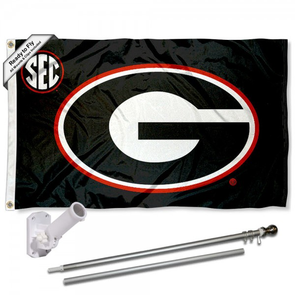 UGA Bulldogs SEC Flag and Bracket Flagpole Kit