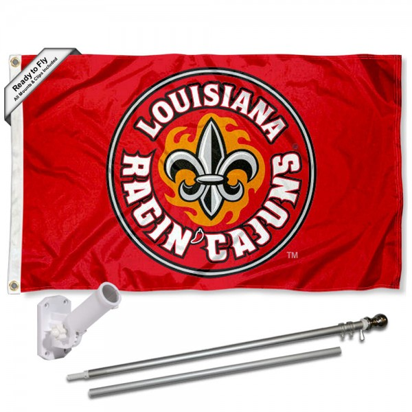 UL Lafayette Ragin Cajuns Flag and Bracket Flagpole Set
