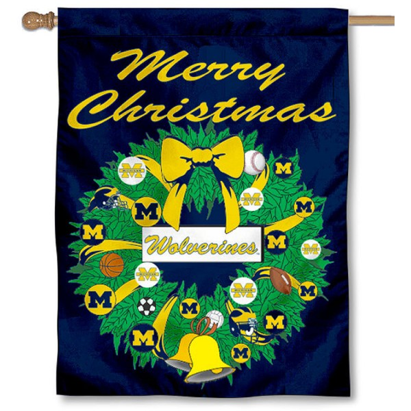 UM Wolverines Holiday Flag