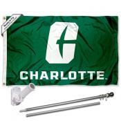 UNC Charlotte 49ers Flag and Bracket Mount Flagpole Set