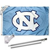 UNC Tar Heels Blue Flag and Bracket Flagpole Set