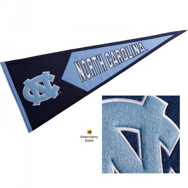 UNC Tar Heels Embroidered Wool Pennant