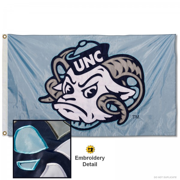 UNC Tar Heels Ramses Head Appliqued Nylon Flag