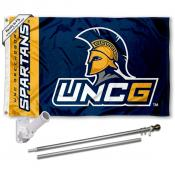 UNCG Spartans Logo Flag and Bracket Flagpole Kit