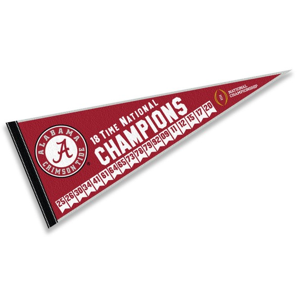 University of Alabama 18 Times College Football Champions Pennant
