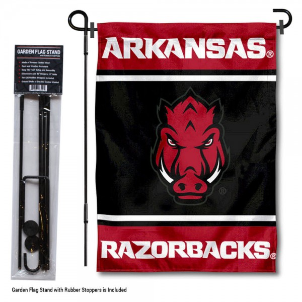 University of Arkansas Garden Flag and Yard Pole Holder Set