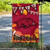 University of Arkansas Razorbacks Fall Leaves Football Double Sided Garden Banner