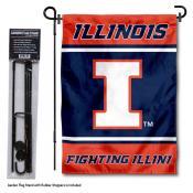 University of Illinois Garden Flag and Yard Pole Holder Set