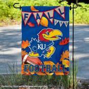 University of Kansas Jayhawks Fall Leaves Football Double Sided Garden Banner