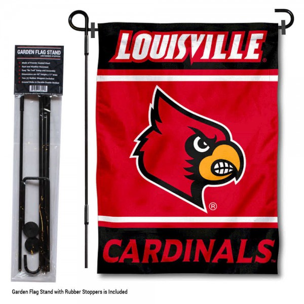 University of Louisville Garden Flag and Yard Pole Holder Set