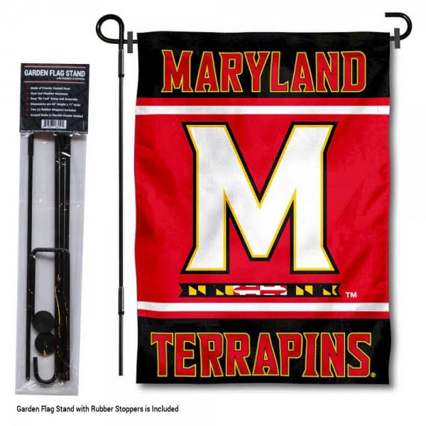 University of Maryland Garden Flag and Yard Pole Holder Set