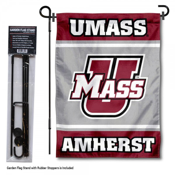 University of Massachusetts Garden Flag and Yard Pole Holder Set