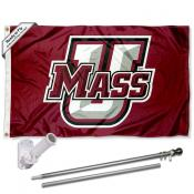 University of Massachusetts Umass Flag and Bracket Flagpole Set