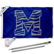 University of Memphis Tiger Striped Flag and Bracket Flagpole Set