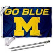 University of Michigan Go Blue Flag and Bracket Flagpole Kit